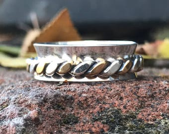 SHIP NOW ~ Spinning Ring in Silver and Brass. Narrow Spinner Ring. Turning ring. Sterling Silver Fidget Ring - Sterling Silver Worry Ring