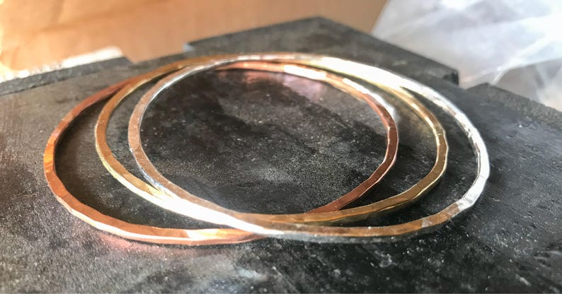 5194507bede Set of Three Bangles. Copper Brass and Silver Bangle   Etsy