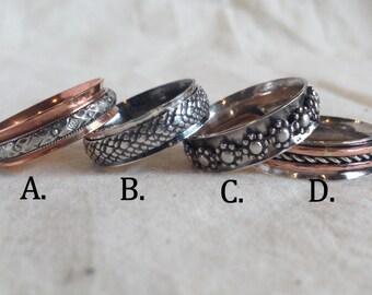 Silver Spinner Ring. Patterned Spinner. Fidget Ring. Meditation Ring. Worry Ring. Flower Ring. Copper Spinner Ring. Silver Spinner Ring