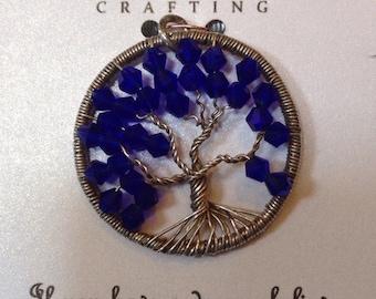 Dark Blue Crystal Tree of Life Pendant in Sterling Silver
