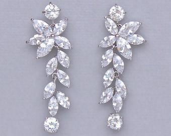 Crystal Chandelier Earrings, Crystal Drop Wedding Earrings, Marquise Crystal Leafy Drop Bridal Earrings,  MAXIME