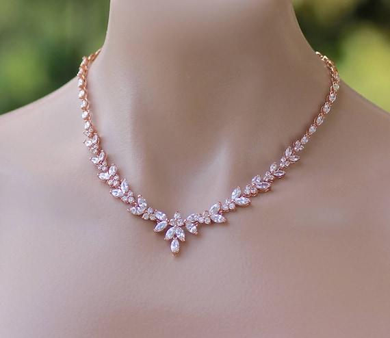 a73cbb91bf0 Marquise Bridal Crystal Necklace Rose Gold Crystal Wedding | Etsy