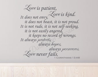 Love is Patient Love is Kind - Love Quote - Bedroom Decor - Wall Decal