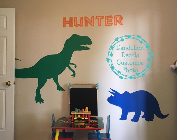 Featured listing image: Dinosaur Wall Decal - T-Rex Wall Decal - T-Rex Wall Decor - Dinosaur Silhouettes - Triceratops Wall Decal