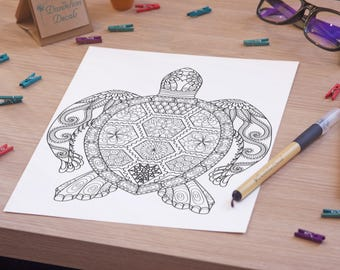 Adult Coloring Page - Turtle Coloring Page - Printable Adult Coloring Page - Geometric Coloring Page - Printable Turtle