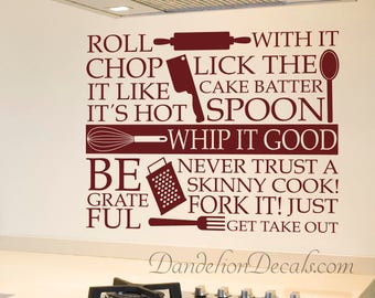 Kitchen Decor - Kitchen Utensils - Kitchen Wall Decal - Wall Decal Quote - Kitchen Wall Sticker - Kitchen Wall Quote