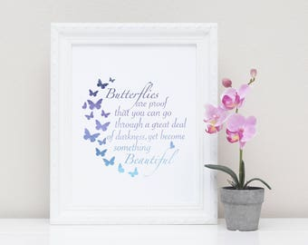 Butterflies Are Proof Quote | 3 Motivational Prints | 8X10 Printable
