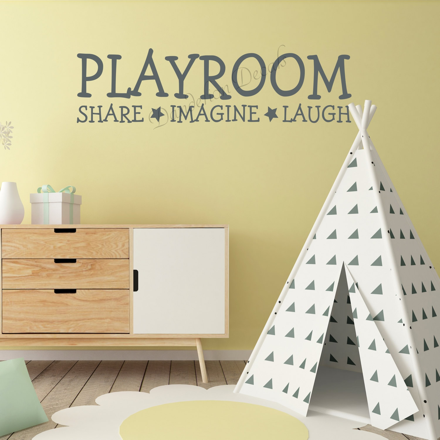Playroom Wall Decal, Share Imagine Laugh, Kids Room Wall Decal ...