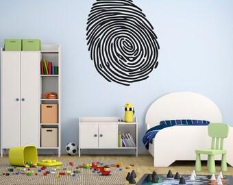Fingerprint Shape - Vinyl Wall Decal - CSI Theme - Crime Scene - Boys Room - Removable Wall Vinyl - Fingerprint