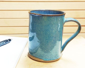 Unique handmade mug with original Sky blue glaze