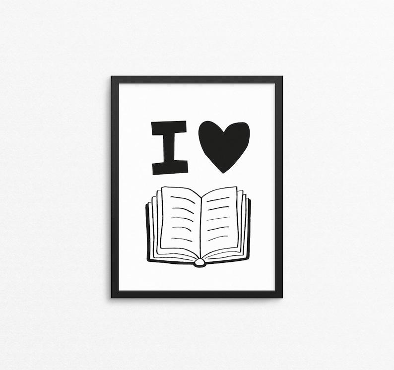 Kids wall art I Love Books reading quote print printable image 0