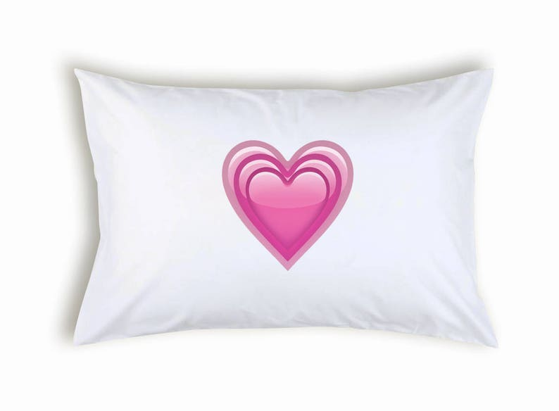 Hearts inside Emoji Pillowcase Gift Present For Lovers Him Her Two Fans Christmas Valetine/'s Day Romantic Bedding Pillow Case Cover