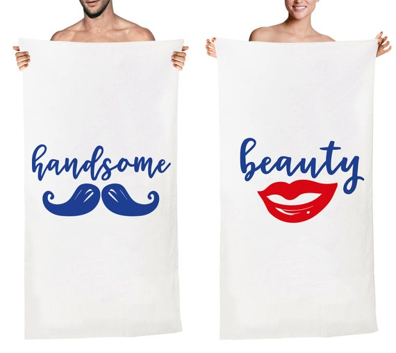 Fishes Heart Bubble Lovers Couple/'s Bath Beach Towel Birthday Gift For Her Him