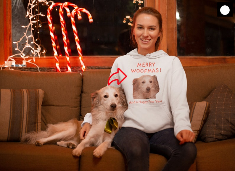 Customizable Dog Photo Printed Hoodie Pullover Christmas Theme Wauffy Funny Image Birthday Gag Present Pet Lover Gift