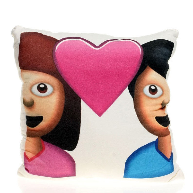 Emoji Pillow Couple with heart Couples gift Emoji gift Cute home decor Fun  gift Decorative pillow Gift for her Girlfriends gift