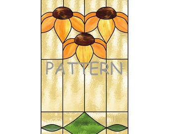 Stained glass Sunflowers or Black-Eyed Susan PATTERN, Arts & Crafts Style, for stained glass or mosaic.