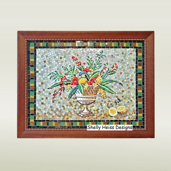 Stained glass mosaic wall art flowers and fruit FREE   Etsy