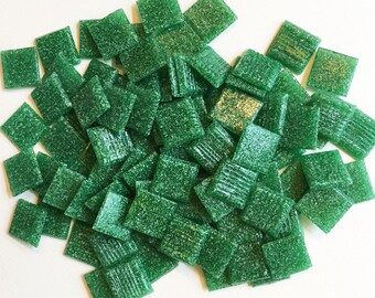 """Mosaic tiles, Kelly Green Vitreous Glass, 3/4"""" square, qty. of 95.  FREE PRIORITY SHIPPING!"""