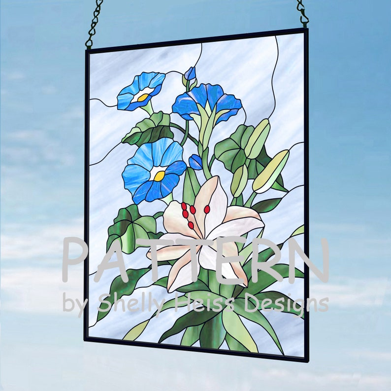 Stained glass Morning Glories and Lily PATTERN for stained glass or mosaic.