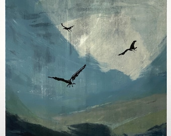 Land and Flight series mono print / artwork / painting / original print / screen print / art for interiors / gift / present / Sussex / UK