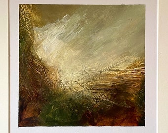 Amber acrylic painting silver frame / artwork / painting / original print / screen print / art for interiors / gift / present / Sussex / UK