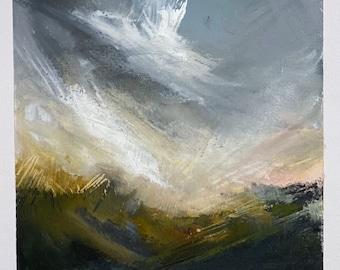 Winter Light original mixed media / artwork / painting / original print / screen print / art for interiors / gift / present / Sussex / UK