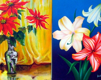 TWO FLORAL 1940s PRINTS - Poinsettias and Tiger Lilies