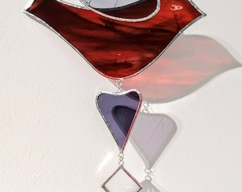 Hand made glass bird with heart and etched star.