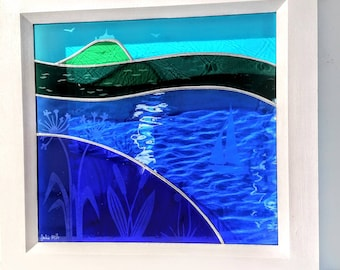 Hand made glass panel depicting St. Michael's Mount.