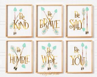 Be Brave, Be Kind, Be You, Mint and Gold Nursery Wall Art, Arrow Nursery Wall Decor for Girls, Tribal Nursery Art Prints, Printable Wall Art
