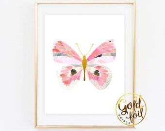Butterfly Wall Art, Nursery Decor, Butterfly Art Print, Butterfly Nursery, Gold Foil Nursery Print