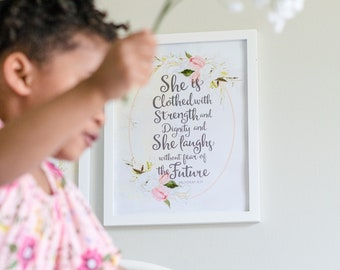 Bible Verse Wall Art, She is Clothed, Nursery Wall Art, Scripture Wall Art, Quote Art, Whimsical Wall Art, Printable Art, Nursery Decor