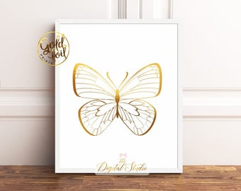 Butterfly Wall Decor, Butterfly Gold Foil Print, Butterfly Nursery Decor, Butterfly Wall Art, Nursery Decor Butterflies