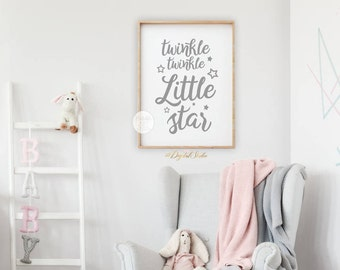 Twinkle Twinkle Little Star, Girl Nursery Decor, Kids Wall Art, Above Crib  Art, Printable Art, Baby Room Wall Art, Neutral Nursery Art