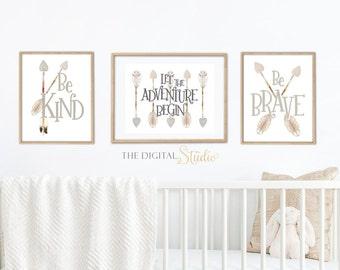 Woodland Gender Neutral Nursery Wall Art, Gender Neutral Nursery Idea, Let the Adventure Begin Wall Art, Arrow Wall Art for Nursery