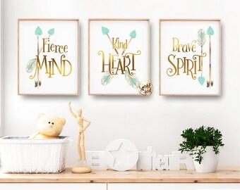 Woodland Themed Toddler Room or Nursery, Mint and Gold Tribal Nursery Wall Decor, Arrow Wall Art, Kind Heart, Brave Spirit
