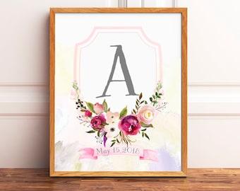 Monogram Nursery Print, Personalized Boho Nursery Print, Baby Girl Nursery Wall Decor, Watercolor Monogram Print, Printable Art