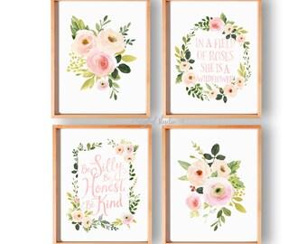 Baby Girl Nursery Decor, PRINTABLE Nursery Decor, In Field of Roses, Floral Nursery Art, Baby Girl Art, Digital Download Set of 4, 104 B