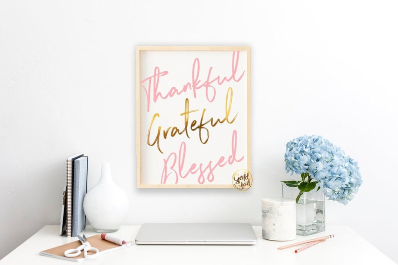 Thankful Grateful Blessed Wall Art Office Decor for Women image 0
