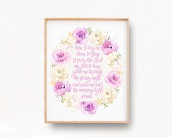 Now I lay me down to Sleep Printable Nursery Wall Art, Purple Nursery Decor for Girls, Baby Girl Religious Gift, Bedtime Prayer art