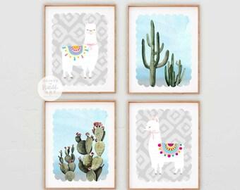 Llama and Cactus Nursery Instant Download, Desert PRINTABLE Nursery Art, Llama Print, Boho Nursery Art, Set of 4