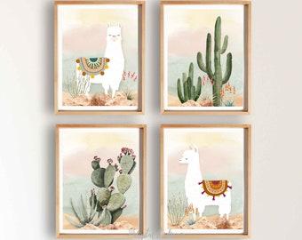 Llama and Cactus Nursery Instant Download, Boy Nursery Decor, Desert PRINTABLE Nursery Art, Llama Print, Boho Nursery Art, Set of 4, 209