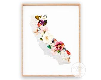 California Print | Wall Decor | House Warming Gift | Flower Wall Decor