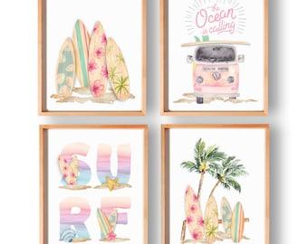 Beach Nursery Decor, Girl Surf Print, Beach Art, Beach Wall Art, Surfboard Art, Nursery Prints, Surf Girl Nursery Decor, Set of 4, 206