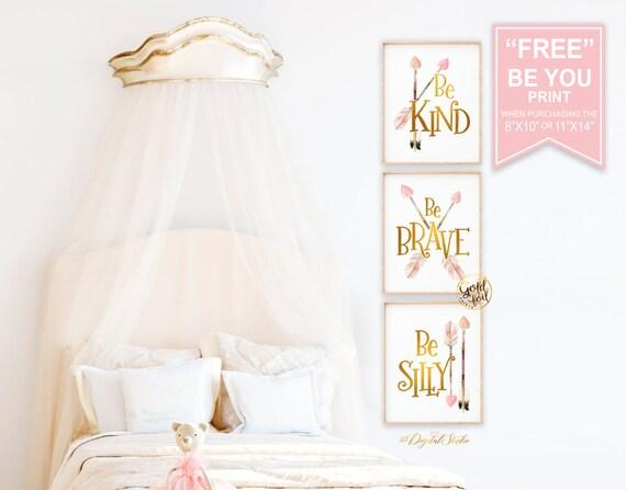 Pink Boho Nursery Decor Gold Foil Nursery Wall Decor Baby | Etsy