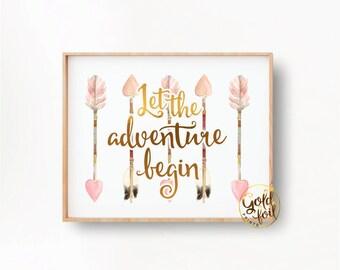 Pink Tribal Nursery Wall Art, Woodland Themed Wall Decor,  Arrow Art Print, Gold and Pink,  Nursery Wall Art, Let the Adventure Begin