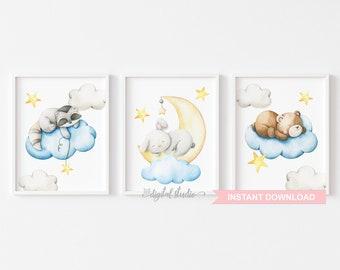 Woodland Baby Animals Nursery Wall Art Instant Download, Neutral Nursery Decor, Moon and Stars Nursery PRINTABLE Art, Set of 3 0212