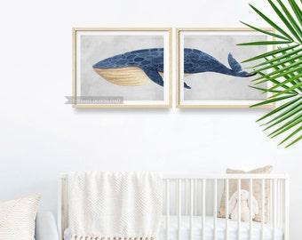 Whale Nursery Wall Decor, Nursery Whale Print, Blue Whale Wall Art, INSTANT DOWNLOAD, Whale Printable Art, Nautical Nursery, Printable Art