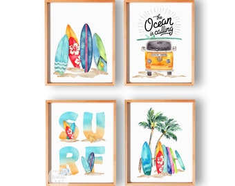 Beach Nursery Printables, Surf Baby Boy Nursery Decor, Surf Board Art, Nautical Nursery Prints, Boho Beach Nursery Download, Set of 4,