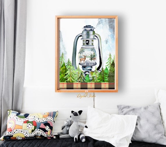 Baby Boy Woodland Nursery Room Decor Camping Nursery Printable Wall Art